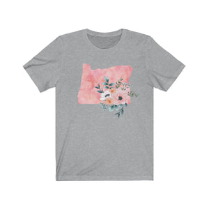 Oregon home state shirt, Watercolor Oregon shirt, Heather gray feminine Oregon T-shirt