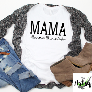 personalized Mama shirt with kid's names, Custom Mom shirt, Gift for mama, shirt for mama, Custom mama shirt, shirt for mom