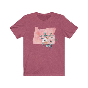 Oregon home state shirt, Watercolor Oregon shirt, heather Raspberry feminine Oregon T-shirt