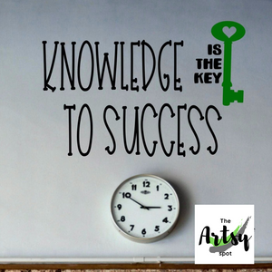 Knowledge is the key to success decal, Classroom wall decal, school decal