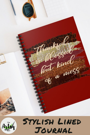 Thankful and Blessed but Kind of a Mess, Fall Notebook, Spiral Notebook, Fall bible study journal, Funny journal, notebook for journaling, funny Christian journal, busy mom journal, notebook for mom, journal for mom