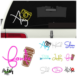 Personalized DECAL with a name or any word, tumbler name decal, car window name decal