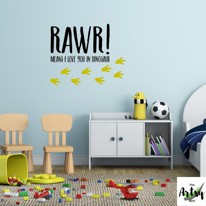 RAWR! Means I Love You in Dinosaur Wall Decal