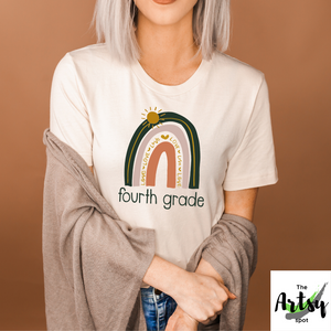 4th Grade teacher shirt, Fourth Grade Shirt with Rainbow, shirt for 4th grade, Neutral rainbow teacher shirt, The Artsy Spot, Back to school shirt
