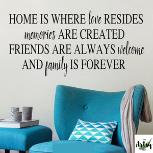 Home is where love resides, Family room decal, Family quote, friends quote