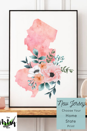 New Jersey poster, New Jersey watercolor print, New Jersey state decor, New Jersey poster