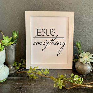 Jesus over everything framed, Christian farmhouse picture
