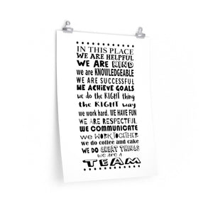 In this place we are... office poster wall art print, School team quote print, Team building poster, school unit grade level team poster