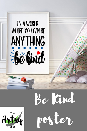 In a world where you can be anything be kind poster, wall art print, Pinterest image