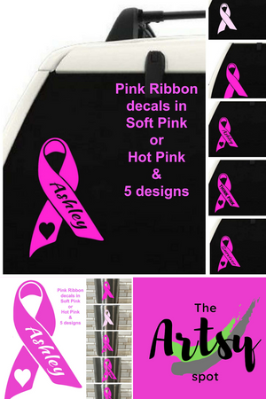 Pink ribbon decal, Pink ribbon car window decal, Survivor decal, Breast cancer awareness decal