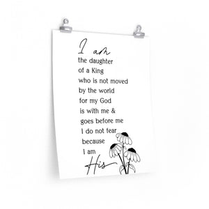 I am the daughter of a king wall print, Christian woman's office print, woman of faith wall print, bible study wall decor
