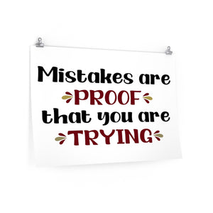Mistakes are proof that you are trying poster, Classroom poster, school poster, school office decor, Mistakes quote