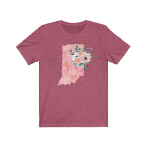 Indiana home state shirt, Watercolor Indiana shirt, Indiana state shirt, heather raspberry