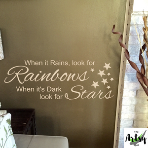 When it rains look for rainbows decal, Positive sayings, rainbow room, girl's room with a rainbow theme