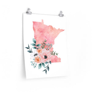 Minnesota home state poster, Minnesota watercolor, Minnesota wall art print