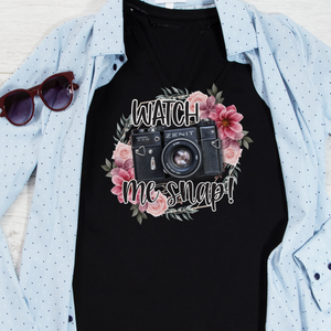 Watch me snap shirt, photogapher shirt, photography t-shirt, cute gift for a photographer with Camera and floral