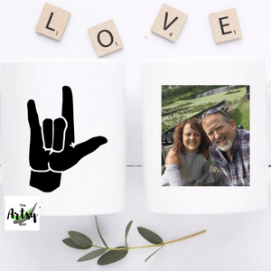 I love you sign Photo coffee mug, gift for a deaf friend, sign language interpreter gift