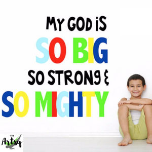 JesuMy God is so big wall decal, Children's Ministry wall decor