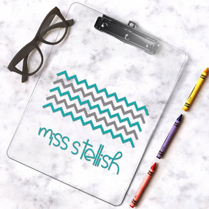 Chevron pattern personalized teacher gift, chevron Teacher Clipboard