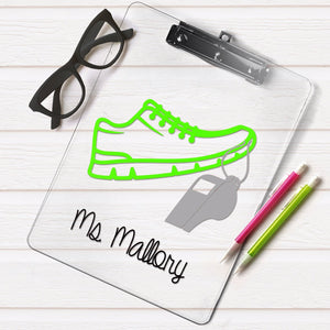 personalized clipboard, gift for a PE teacher, PE teacher gift, gym teacher gift, coach gift