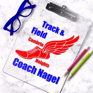 Personalized track and field clipboard, track coach gift with coach name