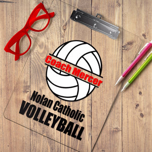 Personalized volleyball clipboard, Volleyball coach gift with coach name