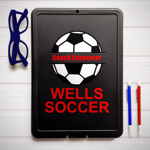 Example of the black storage soccer clipboard, design will be on the back