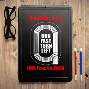 Run Fast Turn Left Track Clipboard, Track and Field, Track Coach Gift