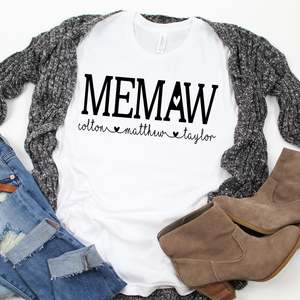 Memaw shirt with grandkids names, Custom Memaw shirt, Gift for Memaw, Personalized Memaw shirt, shirt for new Grandma