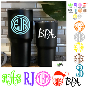 Tumbler Monogram Decals, Car Window monograms, Laptop monograms
