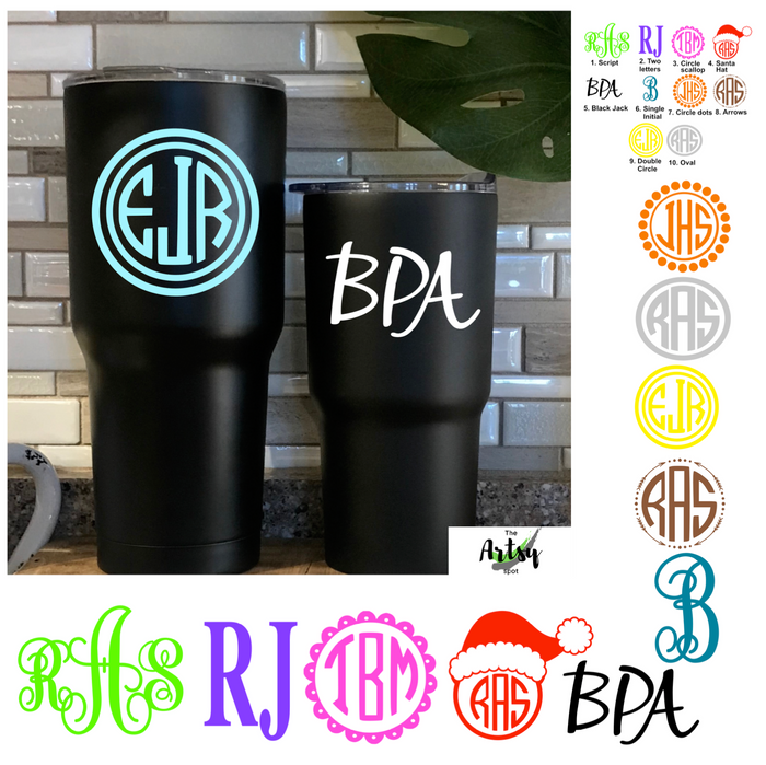 Tumbler Monogram Decals