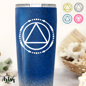 Picture of the AA symbol decal on a tumbler, AA decal for a tumbler, 4 style options for an AA symbol vinyl decal