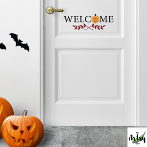 Welcome decal, Fall pumpkin decal, Fall decal, fall sign decal, Fall door decor, Fall wall decal