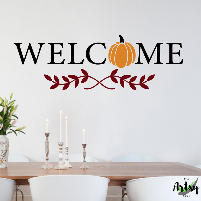 Welcome decal, Fall pumpkin decal