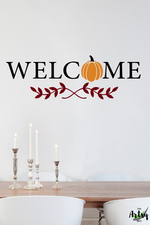 Welcome decal, Fall pumpkin decal, Fall decal, Pumpkin decal, Fall decor, Fall wall decal