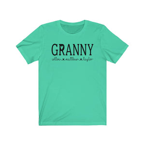 Personalized Granny shirt with grandkid's names, Granny birthday gift, Granny reveal gift, Personalized Grandma shirt