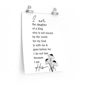 I am the daughter of a king wall print, Christian woman's office print, woman of faith wall print, sunflower with Christian saying
