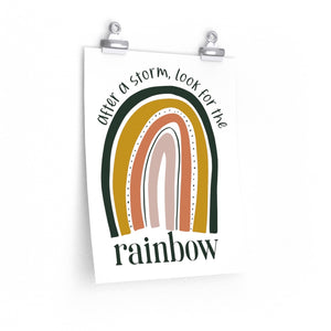 rainbow saying, after a storm look for the rainbow, wall art print with rainbow inspirational quote