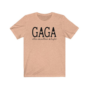 Personalized Gaga shirt with grandkid's names, Gift for Gaga, New gaga gift