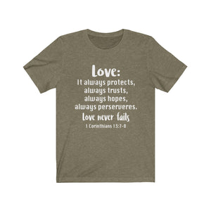 The Love Chapter Shirt, Valentine's Day shirt,  Heather olive Love shirt, Love is patient, love is kind shirt