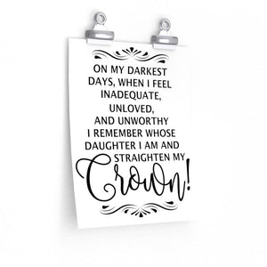 On my darkest Days Print, Women's office wall decor, girls bedroom poster