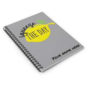 Squeeze the Day Journal with lemon, Notebook personalized with name, bible study journal, lined journal, desk planner, motivational journal