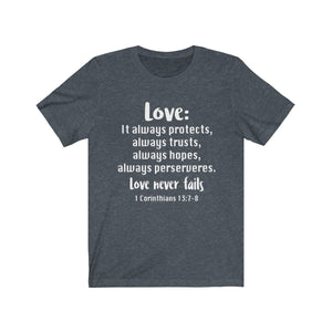 The Love Chapter Shirt, Valentine's Day shirt,  Heather Navy Love shirt, Love is patient, love is kind shirt