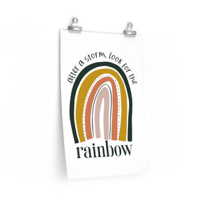 positive saying with rainbow on a wall art print, rainbow poster for bedroom, rainbow poster for classroom wall