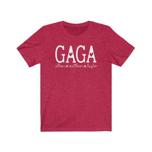 Personalized Gaga shirt with grandkid's names, Gift for Gaga, Shirt for Gaga birthday