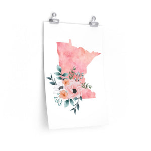 Home state of Minnesota poster, Minnesota watercolor poster, Minnesota wall art print