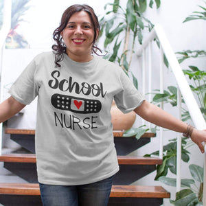 School nurse shirt with bandaid and heart, Shirt for school nurse, nurse appreciation shirt, School Nurse week shirt