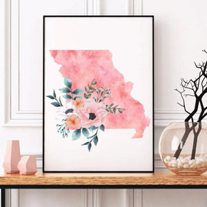 Home state of Missouri poster, Missouri watercolor poster, Missouri wall art print