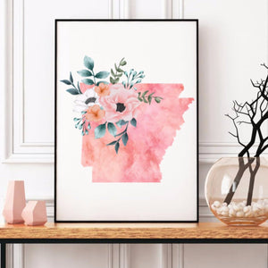 Arkansas Home State Print - The Artsy Spot - Watercolor state of Arkansas