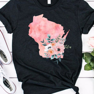 Wisconsin home state shirt, Watercolor Wisconsin shirt, Wisconsin state shirt